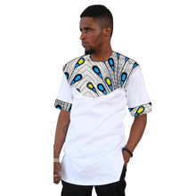 African tops for men o-neck short sleeve dashiki patchwork t-shirts Ankara print Africa style traditional mens clothing