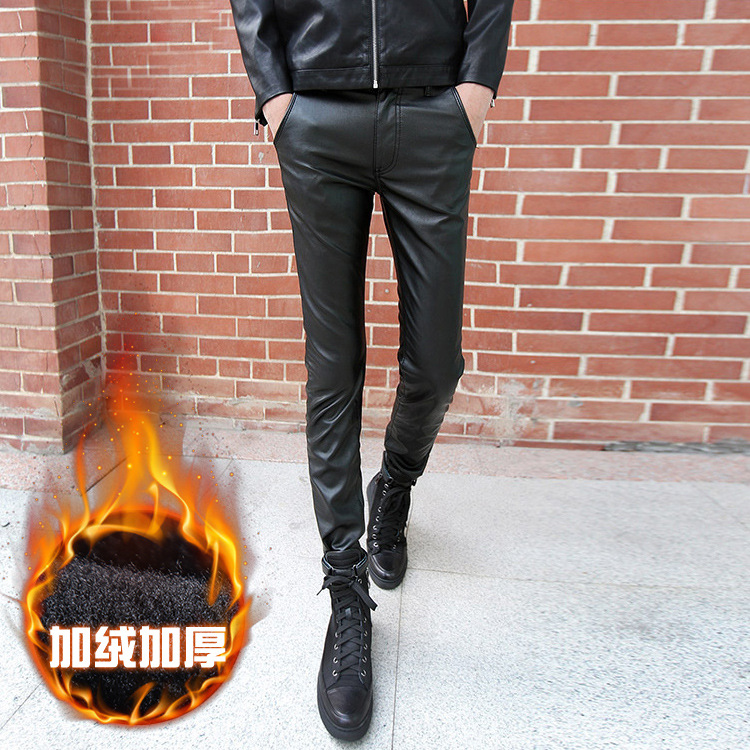 Winter Men Slim Fit Pants PU Leather Pants Korean-style Casual MEN'S Wear Men's Black And White With Pattern And Length Pants Al