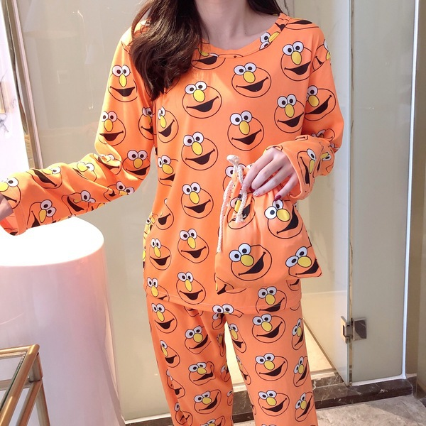 Autumn Winter Women's Animal Cartoon Pajamas Sets Cotton Blend Pyjamas Sleepwear Long Sleeve 2Piece Pajamas Set Female NightSuit