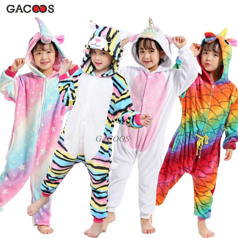 Girls Boys Winter Pajamas Sleepwear Kigurumi Unicorn Cartoon Panda Animal Onesies Pyjamas Kids Flannel Warm Children Pajamas