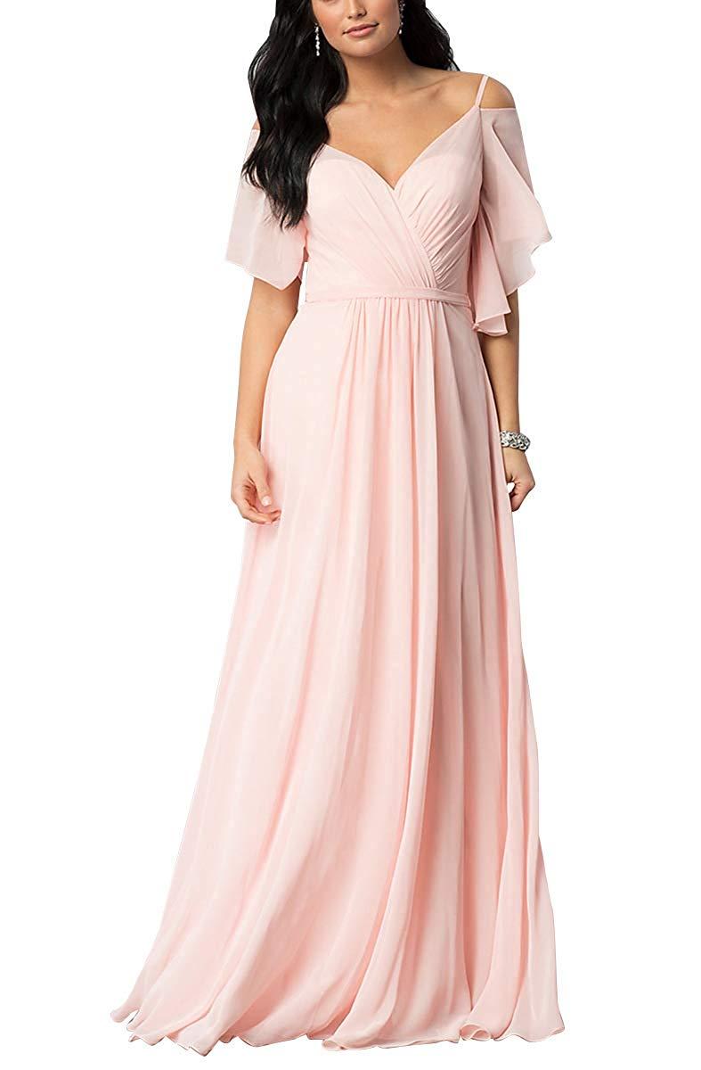 Unique Sleeves V-neck Spaghetti Straps   Bridesmaid     Dresses   A-line Floor Length Women Party   Dress