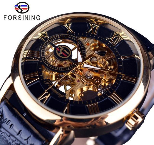 Forsining – Montre mécanique squelette en cuir pour homme, avec logo 3d, gravure, boitier noir et or, marque de luxe