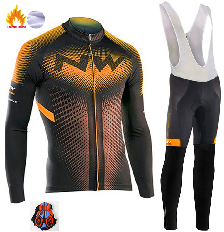 <font><b>Northwave</b></font> <font><b>2019</b></font> Keep warm Cycling Team polar Winter Men's Clothing Long Sleeve Jersey Set outdoor activities Bike <font><b>NW</b></font> Cycling set image