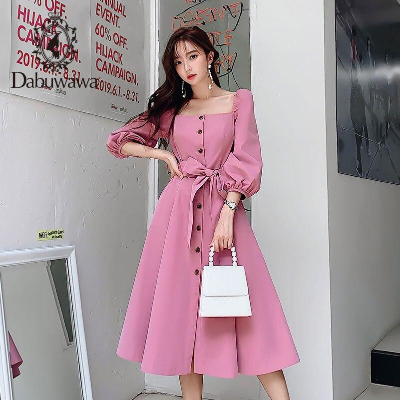 Dabuwawa élégant Vintage femmes robe début automne 2019 manches bouffantes col carré volants rose robes robe longue décontractée DN1CDR053