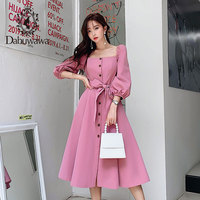 Dabuwawa Elegant Vintage Women Dress Early Autumn 2019 Puff Sleeve Square Neck Ruffles Pink Dresses Casual Long Dress DN1CDR053