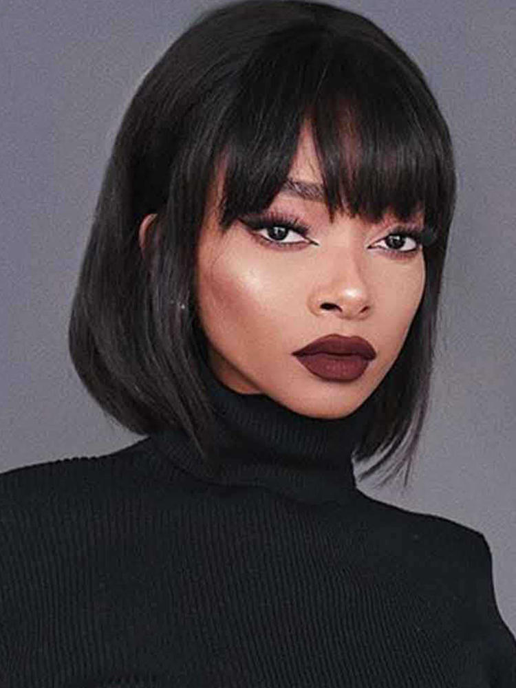Black Wigs Short Synthetic-Wigs Daily-Hair Pink Purple Straight Women QUEENS AISI High-Tempearture-Fiber