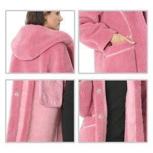 Image 5 - Women Wool Coat Winter Female Long Coat Hood Autumn Woolen Blend Peacoat Girls Warm Cashmere Coats Ladies Pink Fall 2020 Elegant