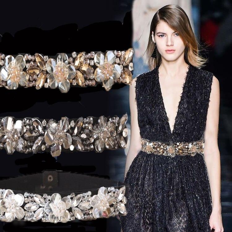 waist belt women dresses elastic waist band crystal rhinestone belt free shipping