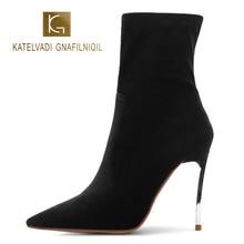 KATELVADI Plus Size 34-45 Ankle Boots Women 12.5CM High Heels Black Flock Zip Short Winter Ladies Party K-559
