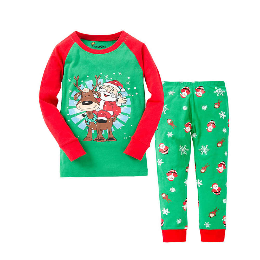 Children Christmas Pajamas Red green Kids Santa Claus Sleepwear Pyjamas Boys Girls New Year Nightwear Chilld Pijamas sets 2t-8t