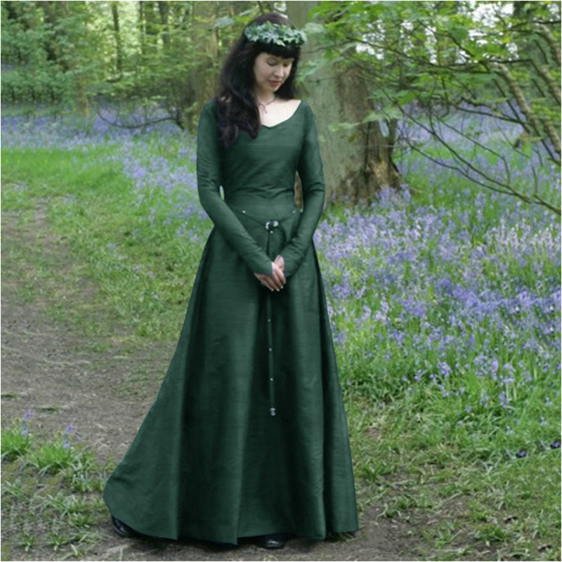 New Women Classical Medieval Central Europe Party Lady Long Sleeves Slim Dress