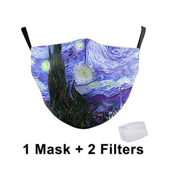 Classic Oil Draw Printing Mouth Mask Reusable Protective PM2.5 Filter Paper Mask Anti Dust Face Mask Bacteria Proof Mask 1
