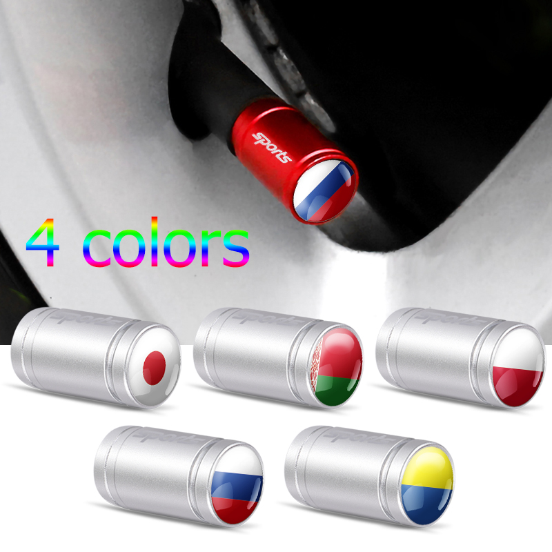 Car Styling 4Pcs Japan Poland Ukraine Belarus Russia National Flag Emblem Bicycle Motorcycle Wheel Tire Parts Valve Stem Caps