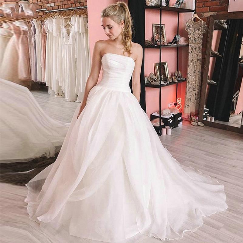 Verngo Ball Gown Wedding Dress Simple Oganza Wedding Gowns Elegant Bride Dress Strapless Dress Long  Vestidos De Novia