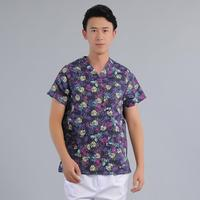 2019 New Printed Men's Scrub Tops Short Sleeve Surgical Gown Medical Professional Uniform Pet Hospital Doctor Nurse Uniform
