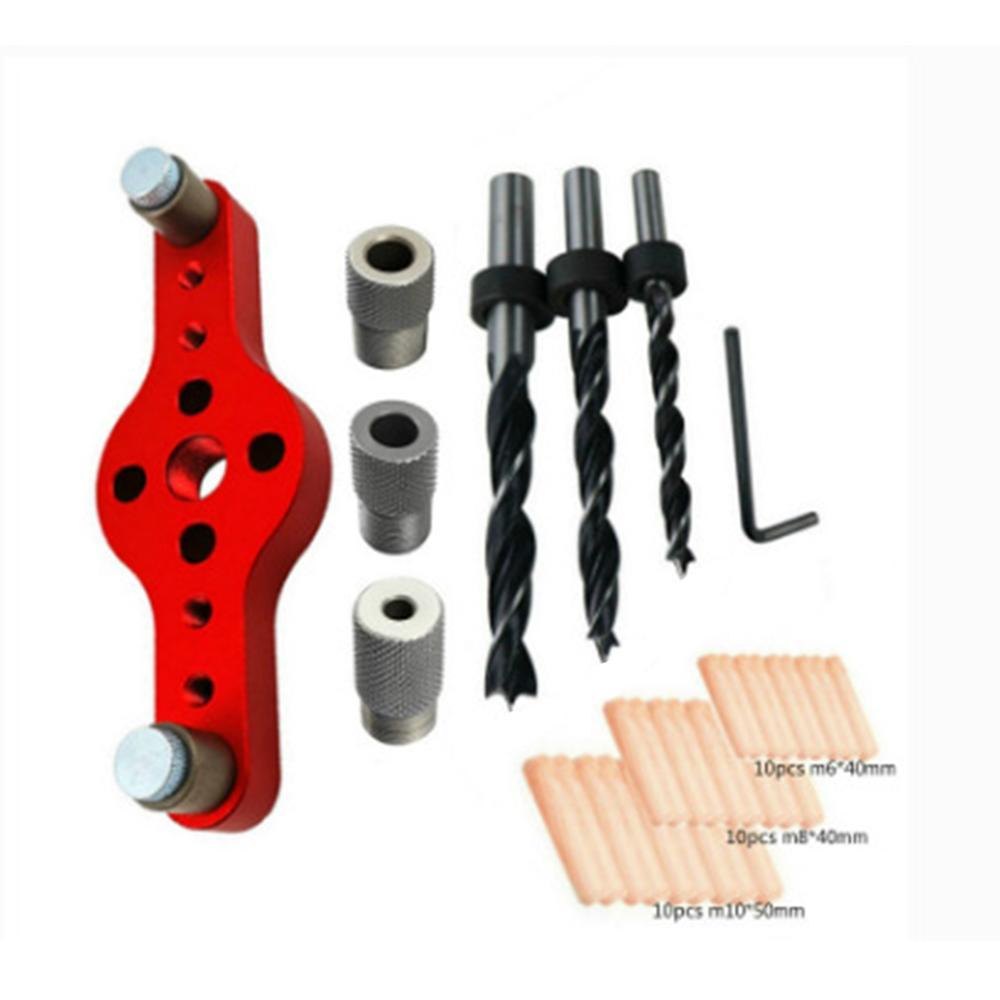 Vertical Pocket Hole Jig Panel Hole Puncher Vertical Self Centering Aluminum Alloy Drill Bit Guide Jig Positioning Locator Hole