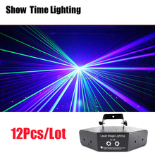 цена 12Pcs/Lot Disco Laser image Lines Beam Scans DMX DJ Dance Bar Coffee Xmas Home Party Disco Effect Lighting Light System Show 4.5 онлайн в 2017 году