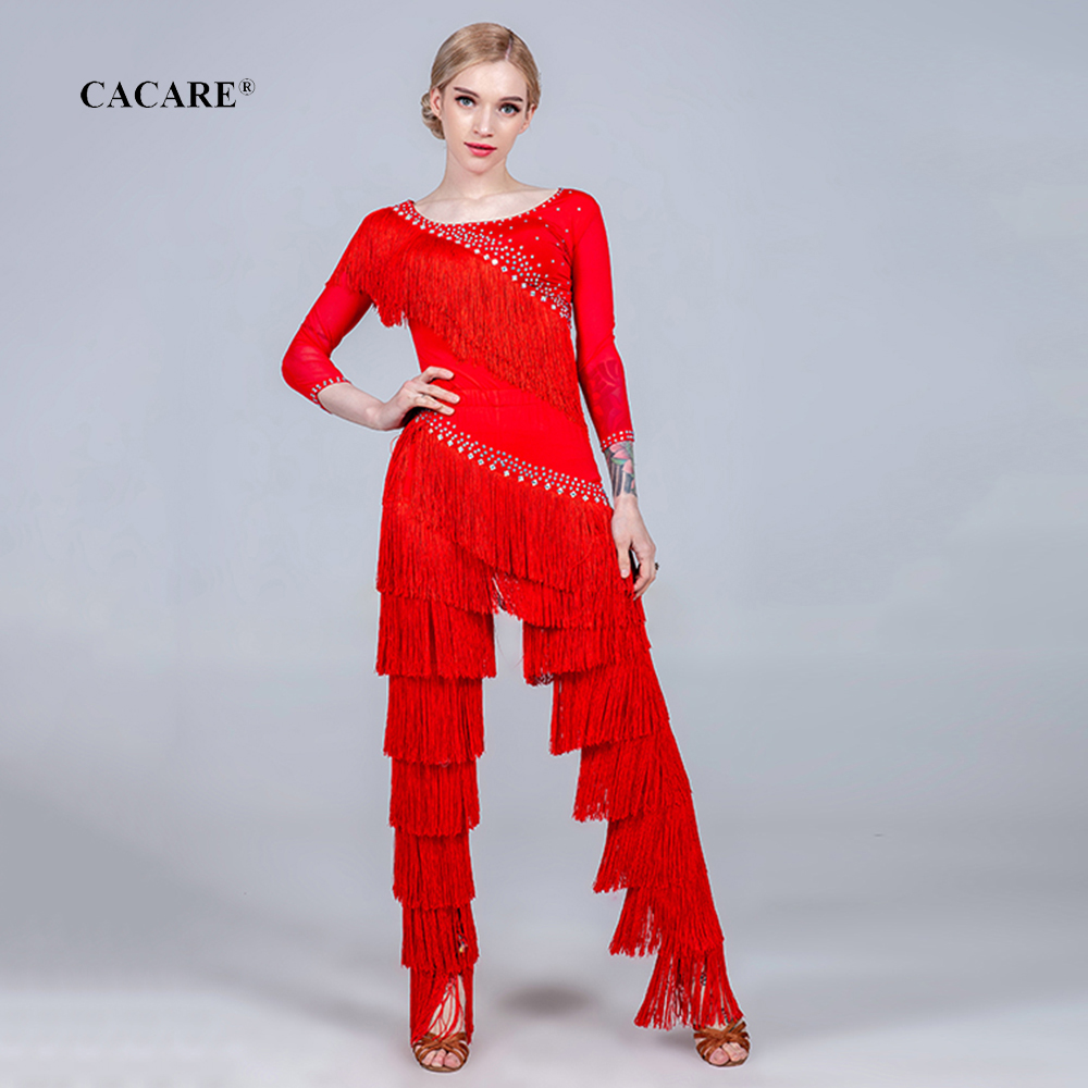 CACARE Latin Dance Shirt Or Pants Or Set Women Latin Dress Salsa Standard Dance Pants 5 Choices D0717 With Tassels Rhinestones