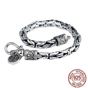 Image 2 - Real 925 Sterling Silver color Men Bracelet Thick Safe Pattern Vintage Punk Rock Style Bangle Men Fine Jewelry Fathers Day Gift