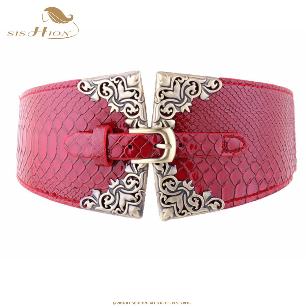 SISHION Ladies Women Elastic Waistband PU Leather Wide Waist Belt Retro Black Red Stretchy 2019 Vintage Cummerbunds