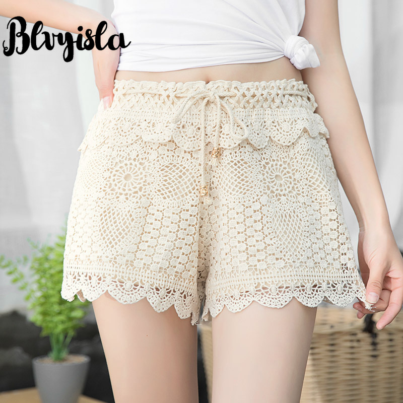 Sexy Summer Crochet Lace Short Pant Slim Lady Pants Beachwear Free Size Elastic Waist Thin Shorts Young Hot Chic Style