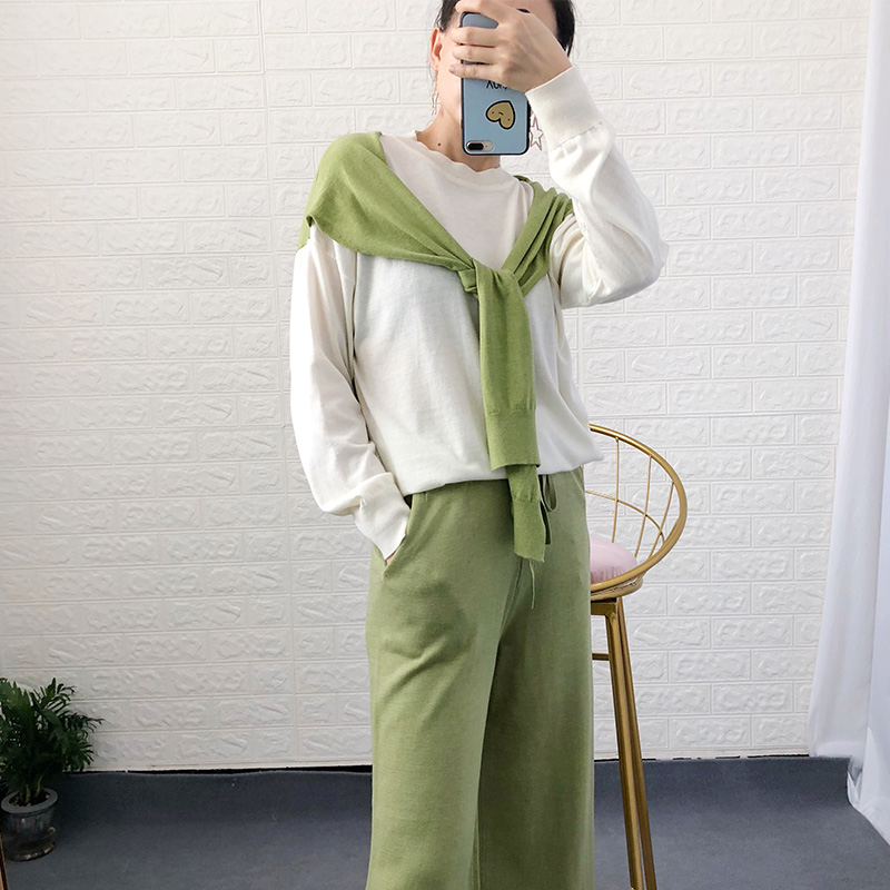 Newest Fake Shawl Two Tops Knitted 2 Piece Pants Set Women Spring Fall Soft Loose Thin Sweater Tops And Wide Leg Pants Sets