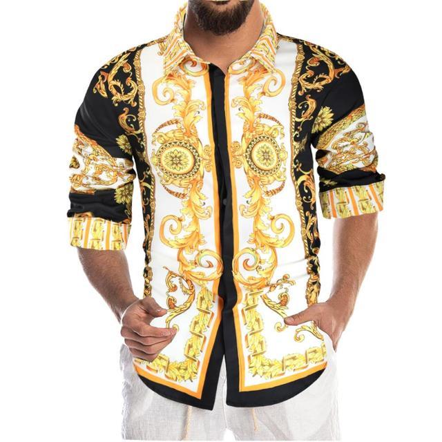 Luxury Royal Shirt Men Casual Slim Fit Long Sleeve Men Paisley Print Shirt Camisa Social Masculina Manga Longa Prom Party Shirt 3
