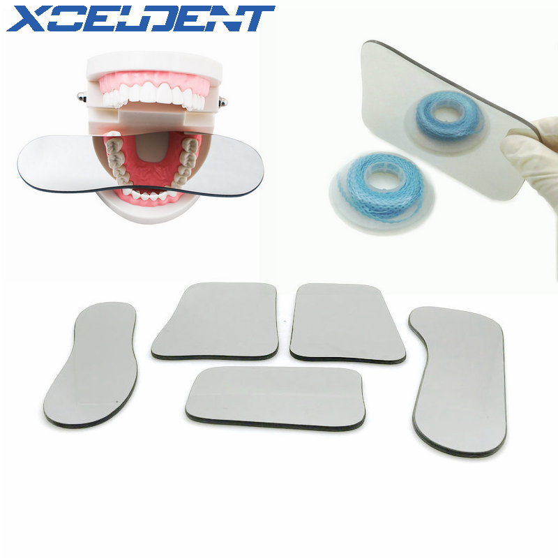 5pcs/lot Dental Orthodontic Intraoral Photographic Reflector Mirror 2 Sided Rhodium Glass Mirrors With Storage Bag For Dentist