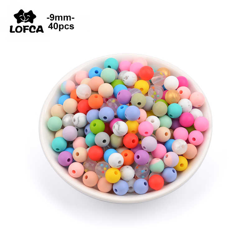 LOFCA Bulat 40pcs Longgar Manik Silikon 9mm Bayi Teething Kalung Food Grade Teether BPA Gratis Perhiasan Baby Teether mainan Dot