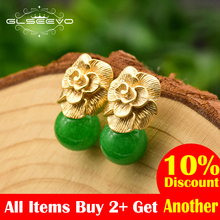 GLSEEVO 925 Sterling Silver Ear Pin Natural Round Jade Drop Earrings For Women Plant Leaves Wedding Jewellery GE0336B