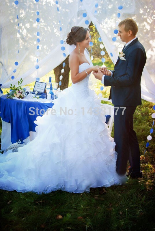 Free Shipping 2018 Hot Sale Real Picture Sweetheart Custom Wedding Dresses A-line Organza With Ruffles Floor-Length Wedding Gown