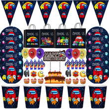 Among Us Boys Birthday Party Decorations Kids Gift Bag Paper Cups Plates Knives Spoons Baby Shower Disposable Tableware Supplies