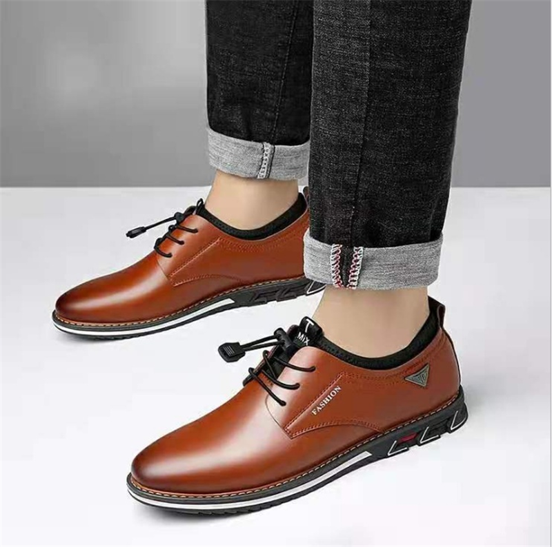 Newest Luxury Pointed Toe Casual Leather Shoes Men's Fashion Lace Up Business Dress Oxfords Solid Wedding Office Males Flats Man (6)