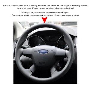 Image 3 - Auto Geflecht Auf Der Lenkrad Abdeckung für Ford Focus 3 2012 2014 Kuga Flucht 2013 2016 C MAX 2011 2014 Auto Leder Rad Abdeckung