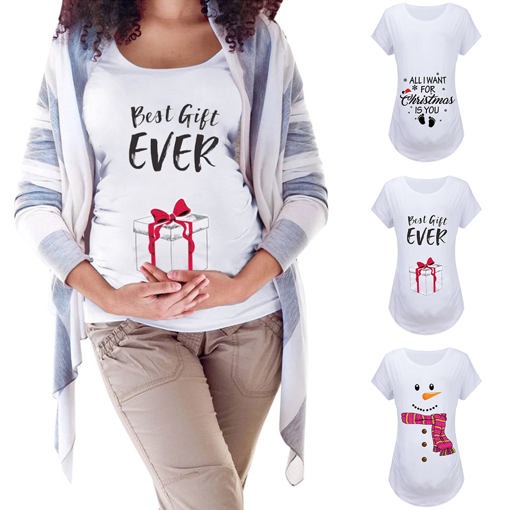 Christmas Snowman Women Maternity Clothes Pregnancy Short Sleeve Cartoon Polyester Pregnant T-shirt Top Embarazada Cotton Blouse