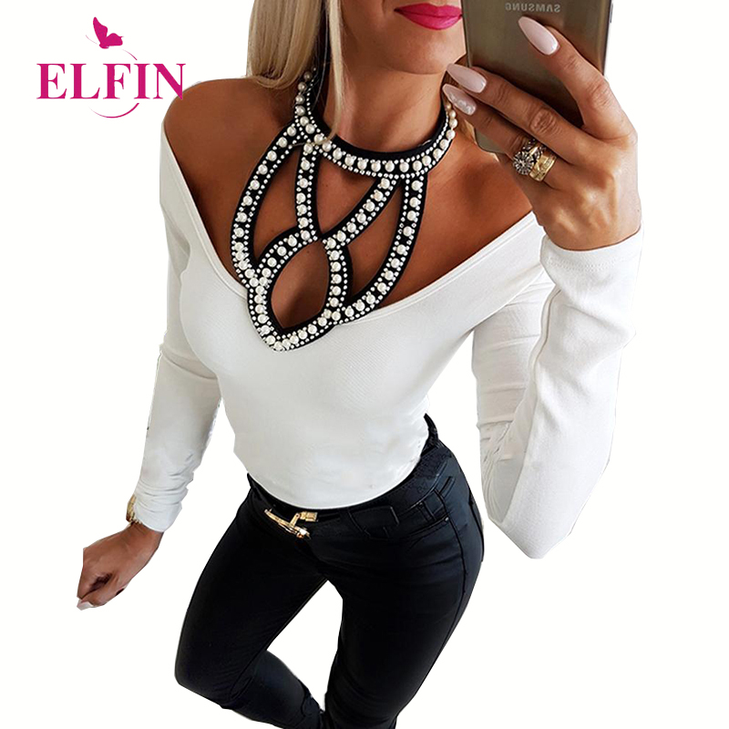 White T-shirt Long Sleeve Beaded Patchwork Elegant Tee Shirt Femme Autumn Winter Clothes SJ4438R