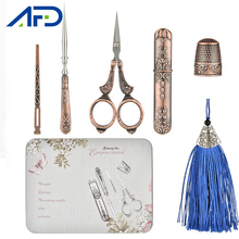 6Pcs Sewing Tool Set Vintage Scissors Needle Bottle Thimble Sewing Kits For Needlework with Iron Storage Box Gifts for Children
