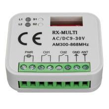 Receptor de controle remoto 433mhz 868mhz 390 mhz rx do interruptor multi receptor ac/dc 9-30v 300-868mhz porta da garagem receptor