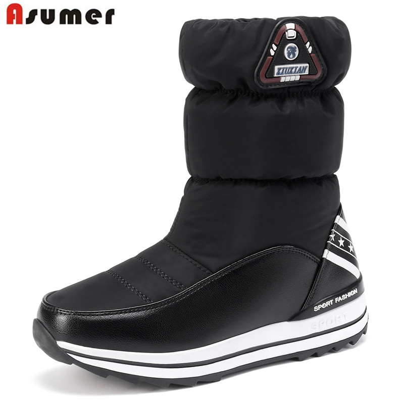 ASUMER Winter Boots Platform-Shoes Warm-Down Women's Ladies New Girl Ankle Cotton 31-43