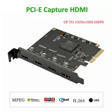 4 Channel Pcie Naar Hdmi Hd Video Capture Card Conferentie Obs Vmix Software Directeur Mshow Live-uitzending Adapter Quad Poorten
