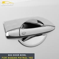 GELINSI for Nissan Patrol Y62 Auto Car Styling Door Handle Bowl Door Wrist Cover Trim Frame Sticker Chrome Exterior Accessories
