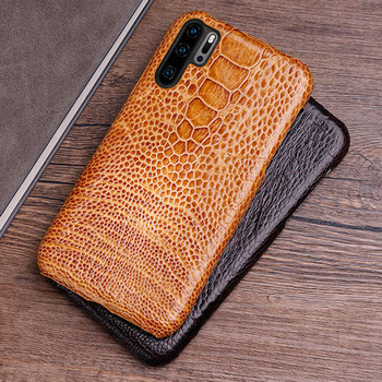 Phone Case For Huawei P20 P30 lite Mate 10 20 Pro lite Y6 Y9 2018 P Smart 2019 Natural ostrich skin For Honor 7A 7X 8X 9 10 lite