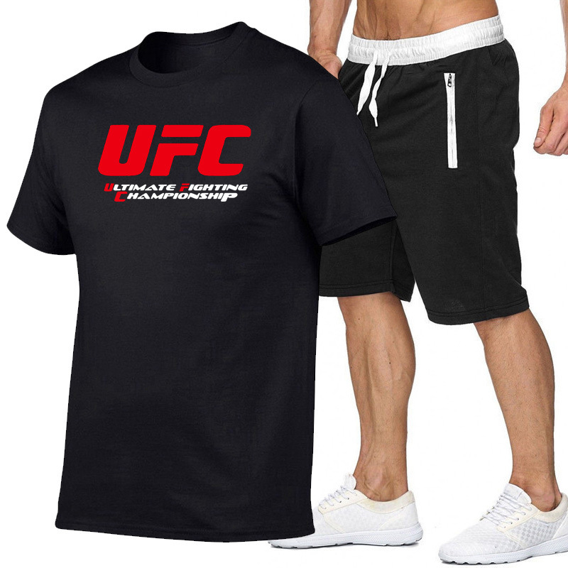 UFC Lettered Short Sleeve T-shirt Shorts Set Men's Europe And America Large Size Trend Casual Couples Tops Pants Set