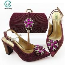 Комплект из туфель и сумочки пурпурного цвета, итальянский дизайн, женские вечерние комплект из обуви и сумки, нигерийские женские высокие туфли и подходящая сумочка