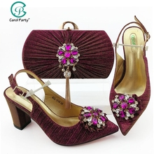 Magenta Color Shoes With Matching Bag Set Italian design Womens Party Shoes and Bag Set Nigerian Women High shoes And match bag
