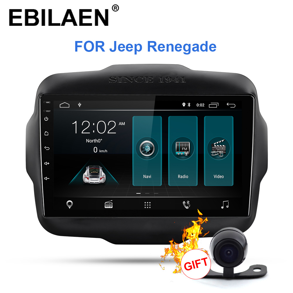 <font><b>Car</b></font> Radio <font><b>Multimedia</b></font> <font><b>Player</b></font> For Jeep Renegade 2016 2017 2018 <font><b>1Din</b></font> Android 9.0 <font><b>Car</b></font> Autoradio GPS Navigation Stereo Reverse Camera image
