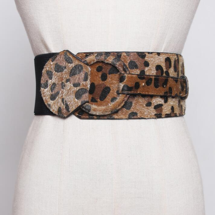 Women's Runway Fashion Leopard Faux Leather Cummerbunds Female Dress Coat Corsets Waistband Belts Decoration Wide Belt R1752