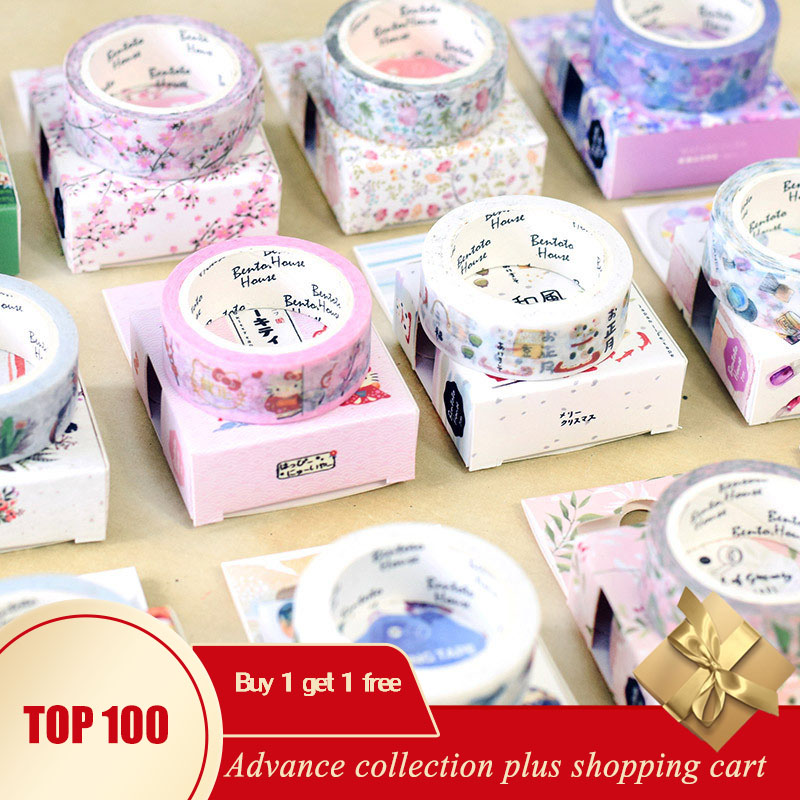 Washi Tape Sakura Cat Flower Cute Wide Winter Halloween Adhesive Masking Japanese Kawaii Scrapbooking Stickers Korean Kırtasiye