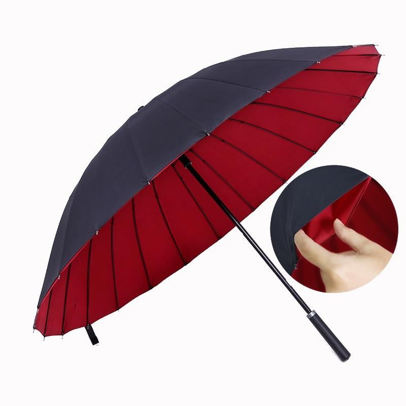 Long Handle Big Golf Umbrella Women Gifts Travel Parasol Rain Umbrella Men Quality 24K Strong Double Windproof Glassfiber