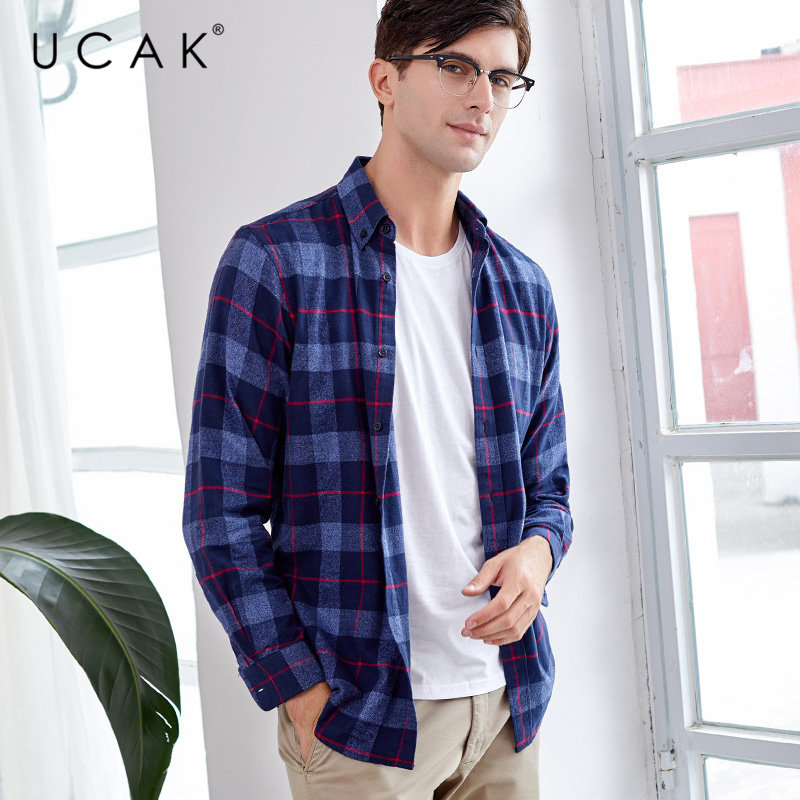 UCAK Brand Shirt Men 2019 Autumn New Arrival Business Casual Shirts Streetwear Fashion Plaid Long Sleeve Camisa Masculina U6001